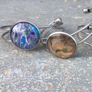 Handmade Wearable Art Painted Bangle Bracelet